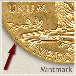 Indian Five Dollar Gold Coin Mintmark Location