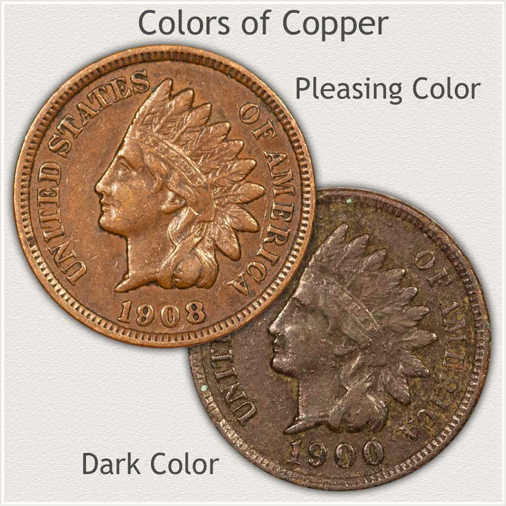 Nice Color vs Dark Color Indian Pennies