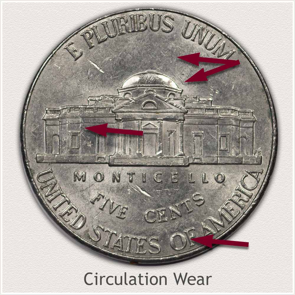 Reverse View: Circulation Wear Modern Jefferson Nickel