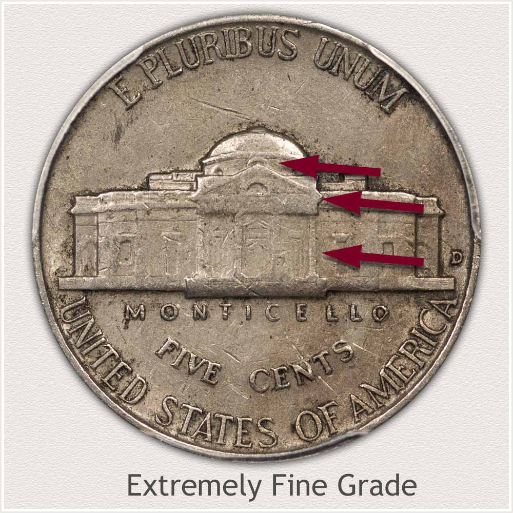 Reverse View: Extremely Fine Grade Jefferson Nickel