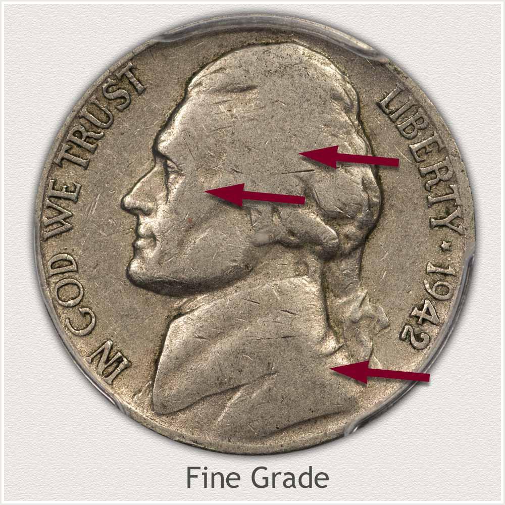 Obverse View: Fine Grade Jefferson Nickel