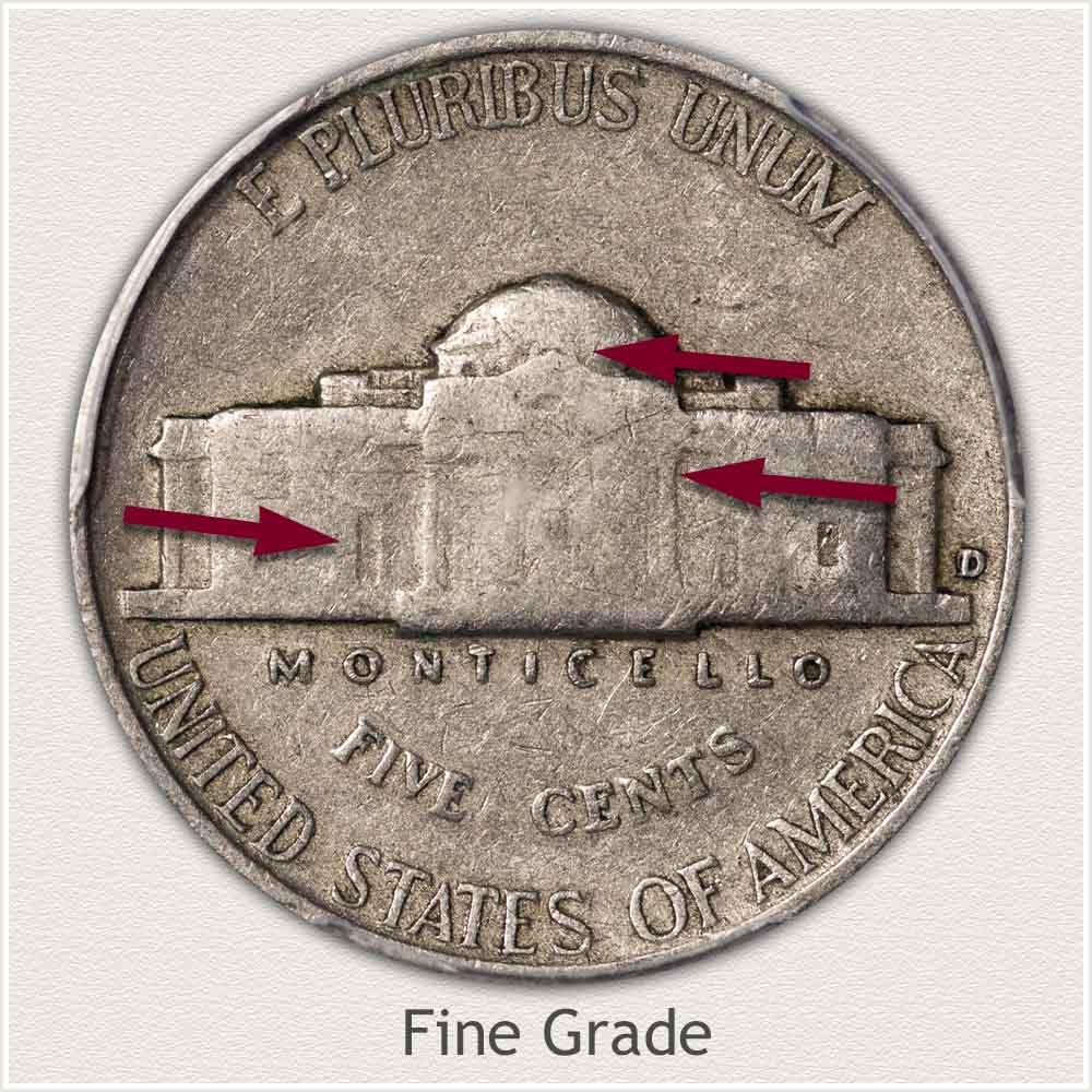 Reverse View: Fine Grade Jefferson Nickel