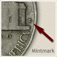 Jefferson Nickel Mintmark Locaton on Reverse