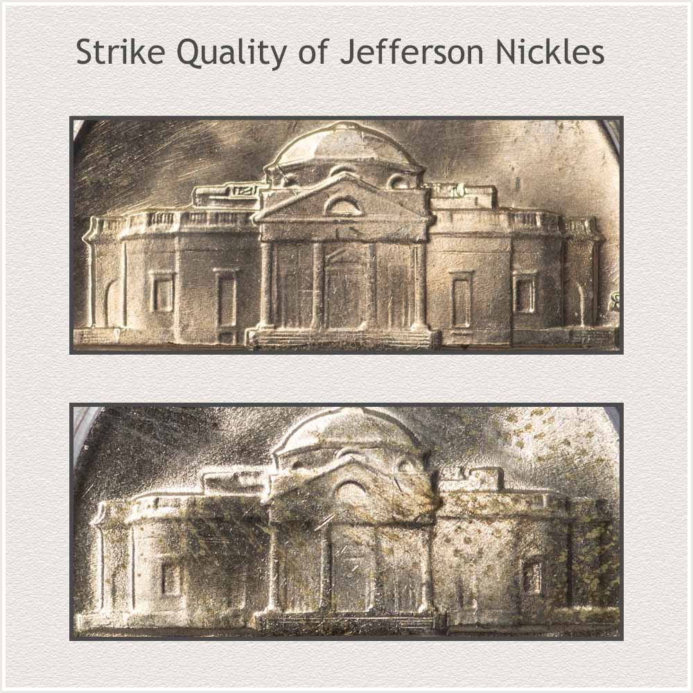 Two Nickels Showing Different Strike Qualities