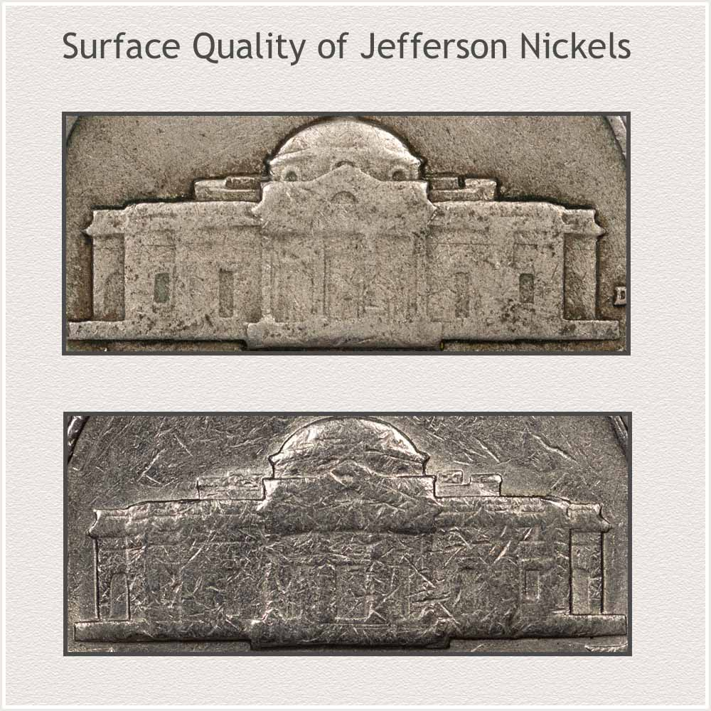 Close-up: View Surface Qualities of Jefferson Nickels