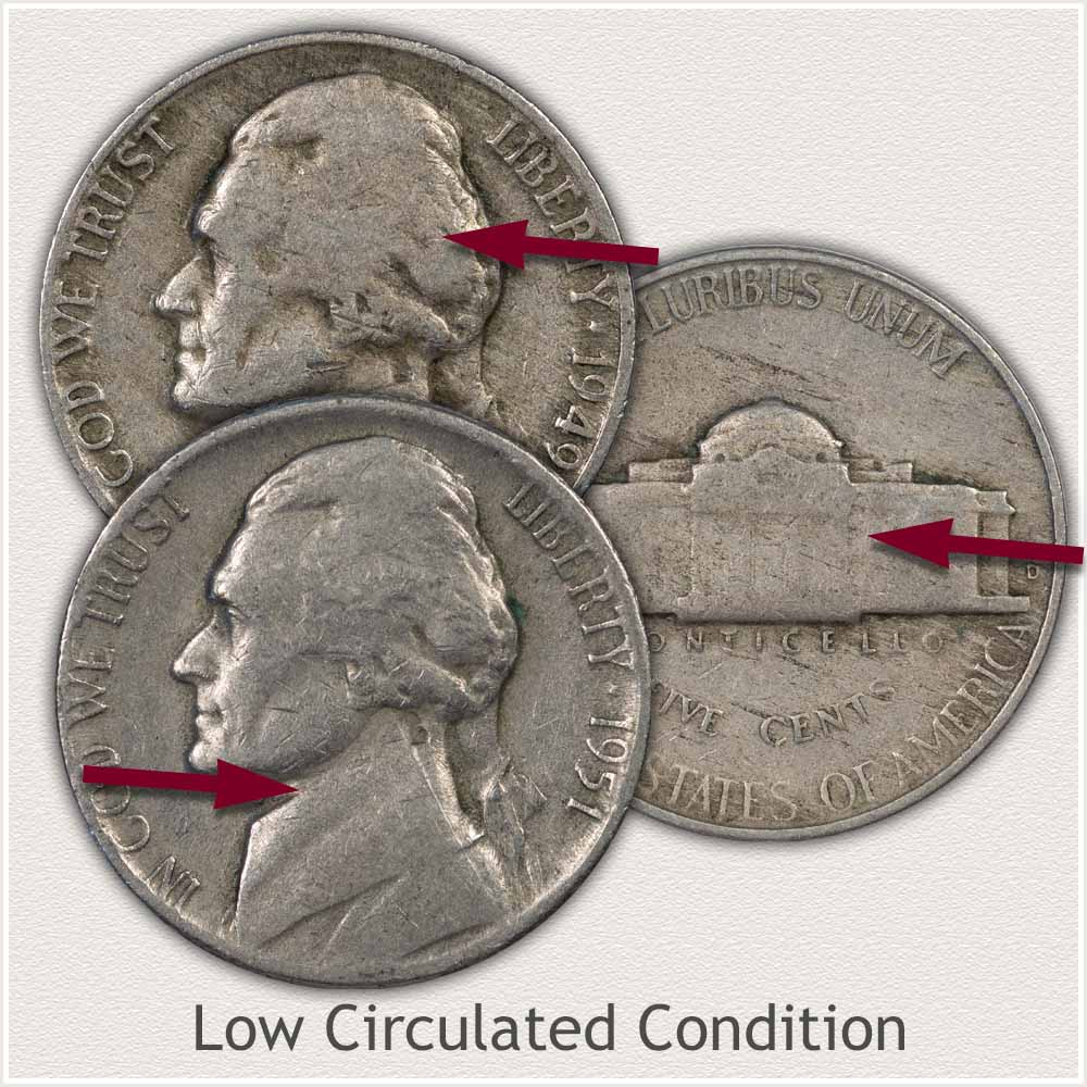 Jefferson Nickels in Low Circulated Condition
