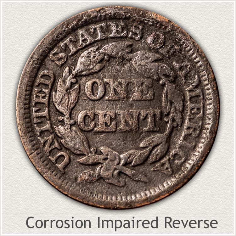 Corrosion Impaired Reverse of Large Cent