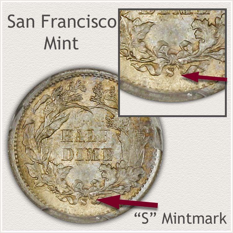 San Francisco Mint Legend Obverse Seated Half Dime