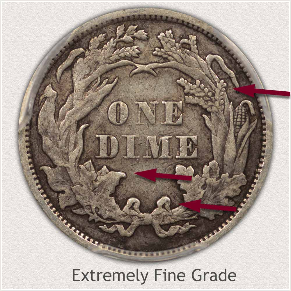Reverse View: Extremely Fine Grade Legend Obverse-Seated Dime