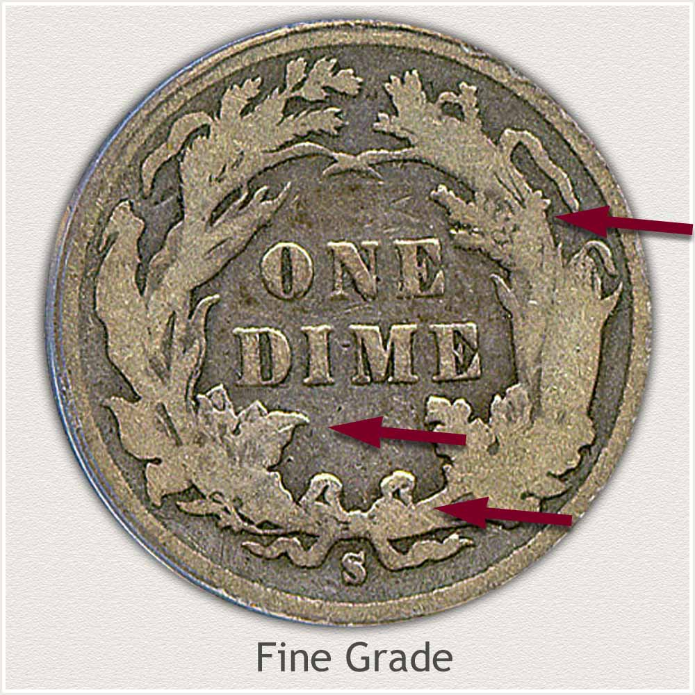 Reverse View: Fine Grade Legend Obverse-Seated Dime