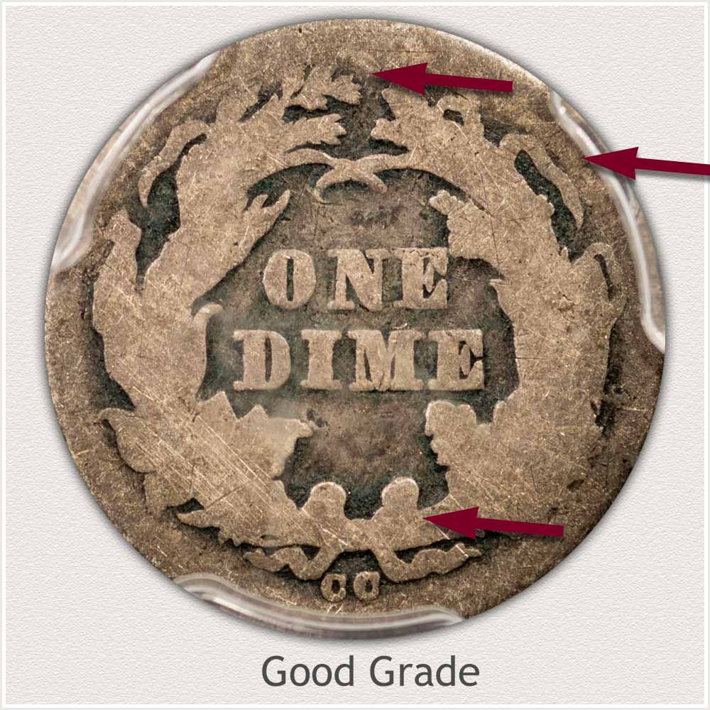 Reverse View: Good Grade Legend Obverse-Seated Dime