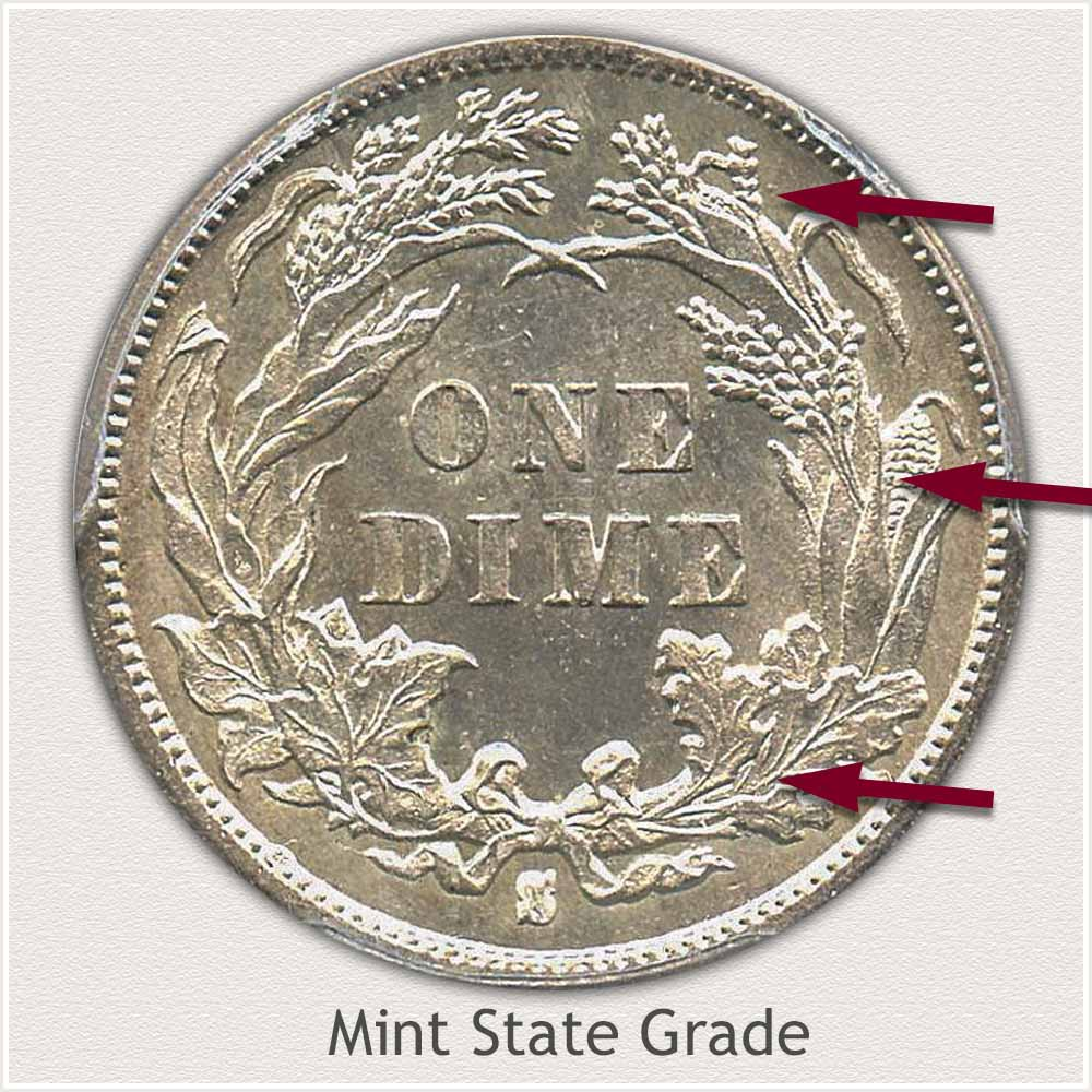Reverse View: Mint State Grade Legend Obverse-Seated Dime