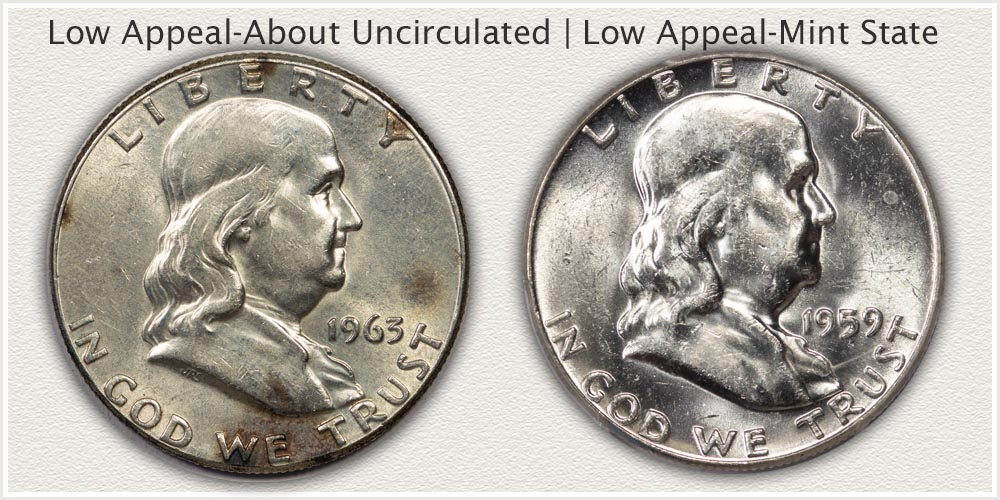 Two Franklin Half Dollars with Less Appealing Surfaces
