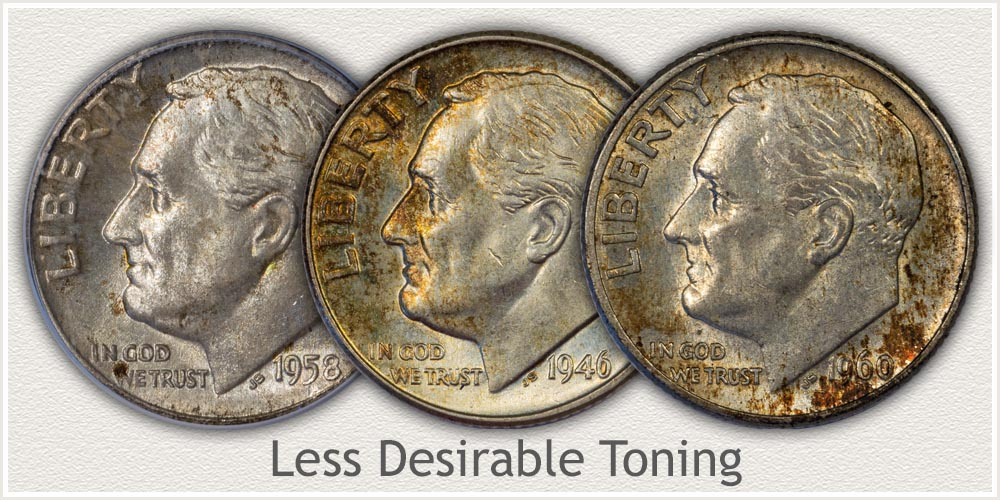Uneven Toning on Silver Roosevelt Dimes