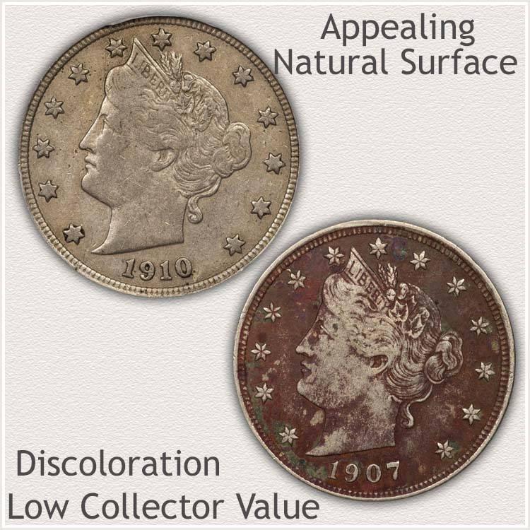 Natural Surface Liberty Nickel Compared to Discolored Example