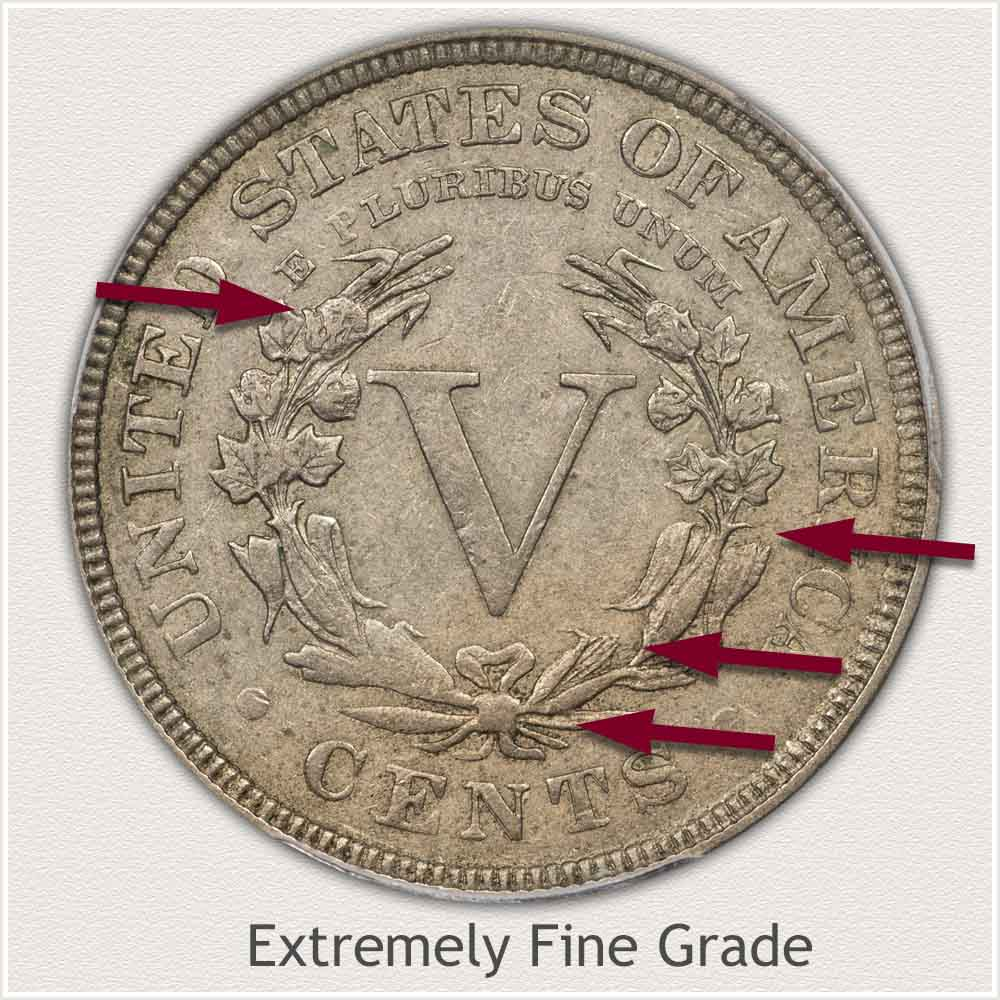 Reverse View: Extremely Fine Grade Liberty Nickel
