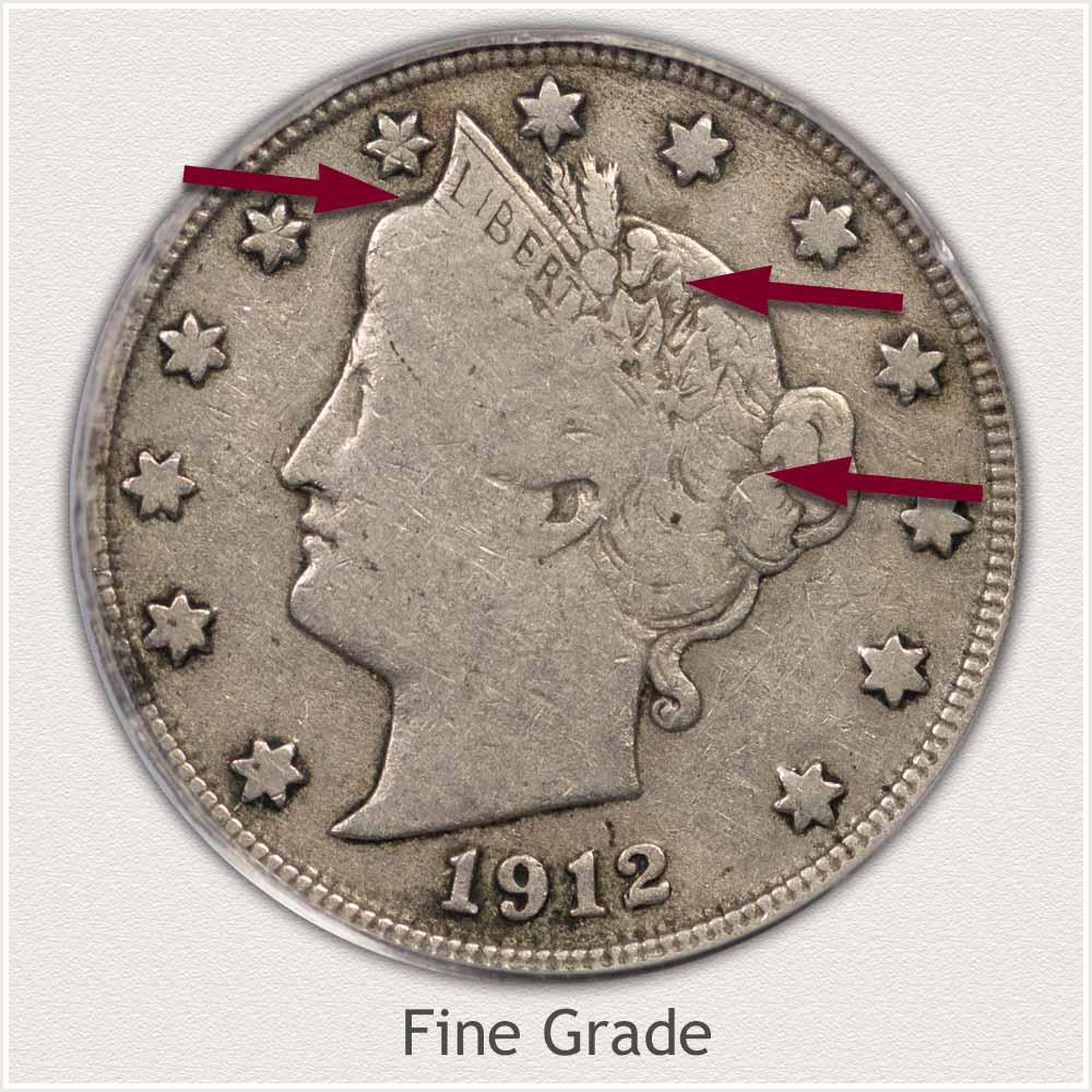 Obverse View: Fine Grade Liberty Nickel