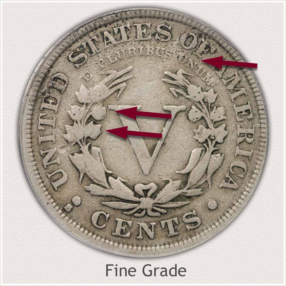 Reverse View: Fine Grade Liberty Nickel