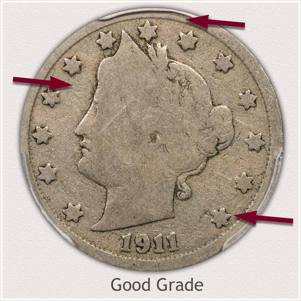 Obverse View: Good Grade Liberty Nickel