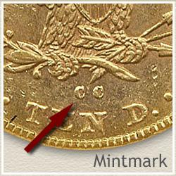 Liberty Ten Dollar Gold Coin Mintmark Location