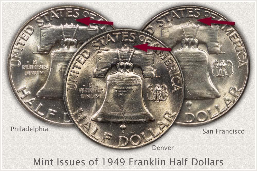 Examples of the Three Mints Striking Franklin Half Dollars