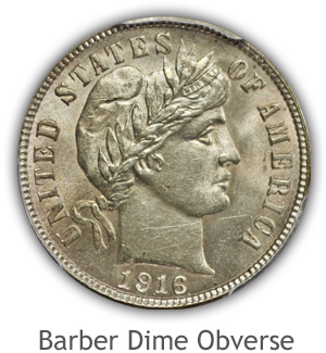Mint State Barber Dime Obverse