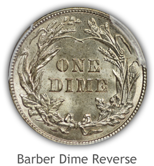 Mint State Barber Dime Reverse