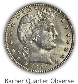 Mint State Barber Quarter Obverse