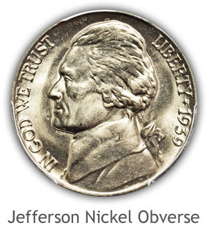Mint State Jefferson Nickel Obverse