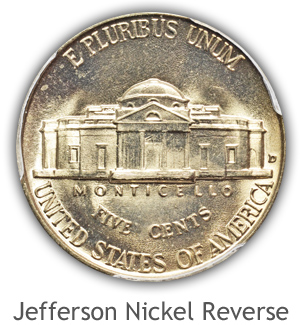 Mint State Jefferson Nickel Reverse