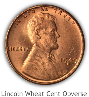Mint State Lincoln Wheat Cent Obverse