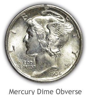 Mint State Mercury Dime Obverse