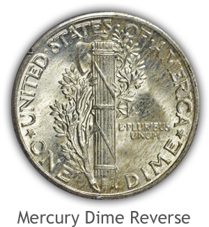 Mint State Mercury Dime Reverse