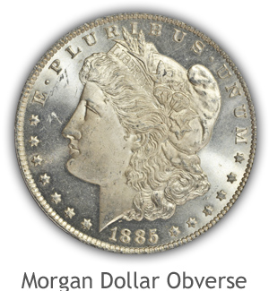 Mint State Morgan Silver Dollar Obverse