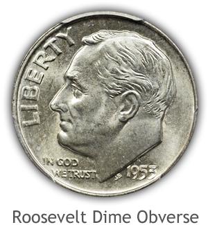 Mint State Roosevelt Dime Obverse