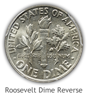 Mint State Roosevelt Dime Reverse