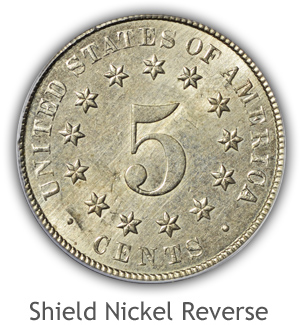 Mint State Shield Nickel Reverse