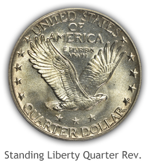 Mint State Standing Liberty Quarter Reverse