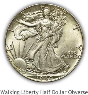 Mint State Walking Liberty Half Dollar Obverse