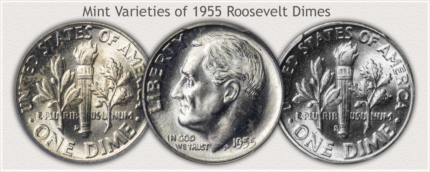 Three Mint Varieties of 1955 Roosevelt Dimes