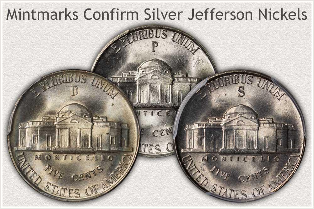 Reverse of Philadelphia, San Francisco, and Denver Mint Jefferson Silver Nickels
