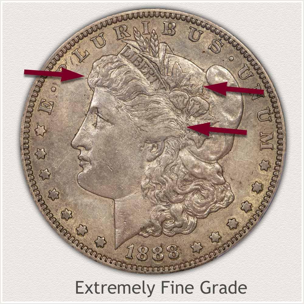 Obverse View: Extremely Fine Grade Morgan Silver Dollar