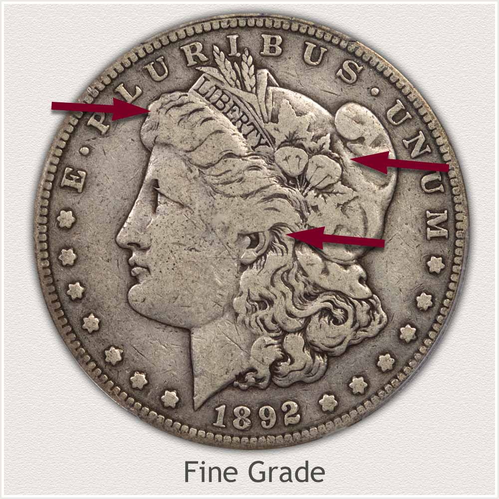 Obverse View: Fine Grade Morgan Silver Dollar