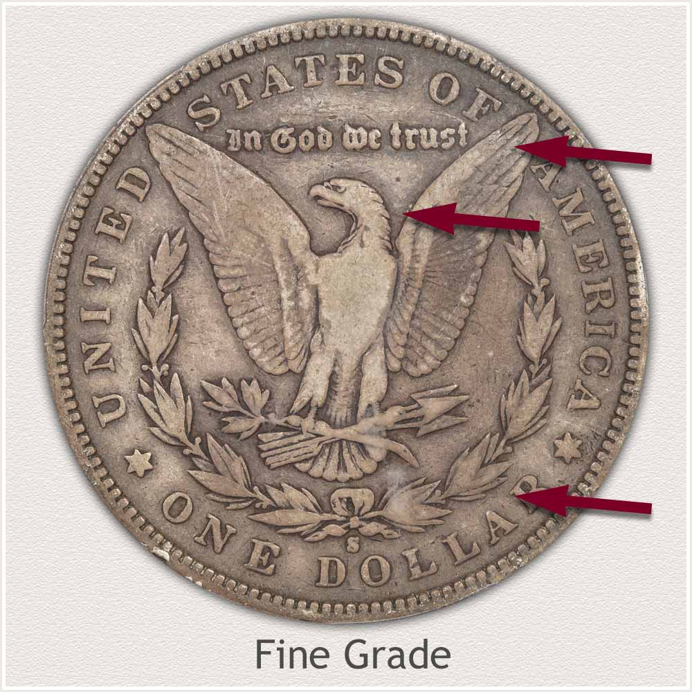 Reverse View: Fine Grade Morgan Silver Dollar