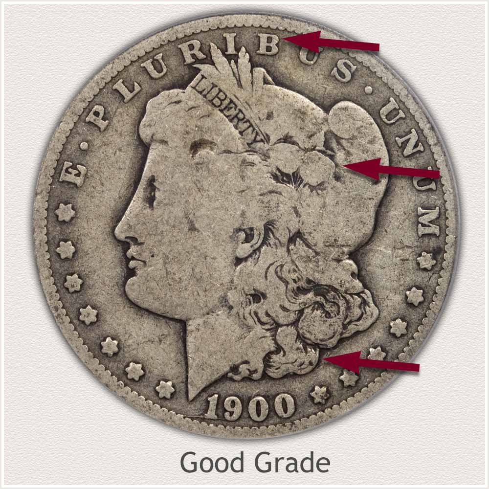 Obverse View: Good Grade Morgan Silver Dollar