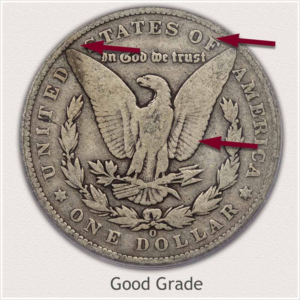 Reverse View: Good Grade Morgan Silver Dollar