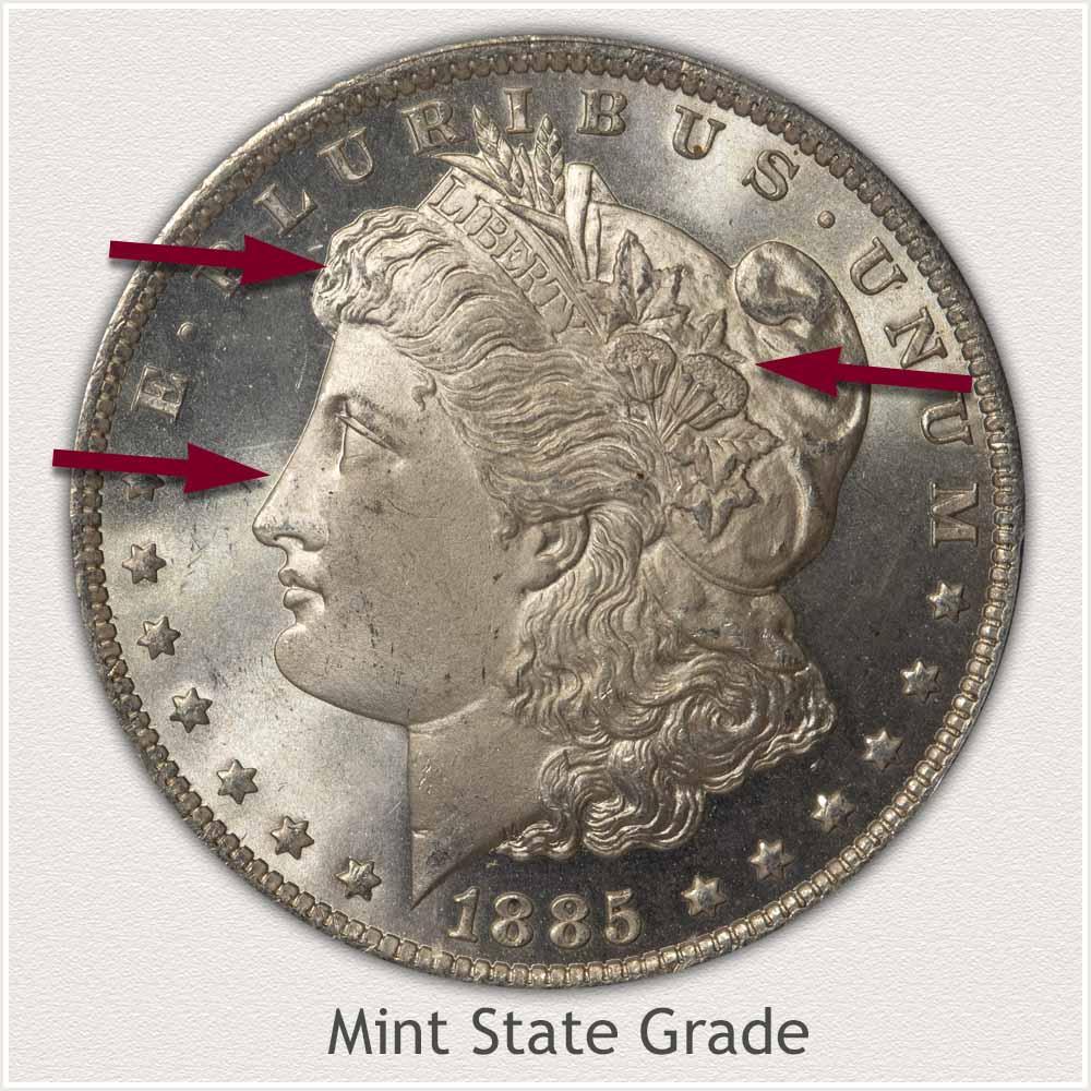 Obverse View: Mint State Grade Morgan Silver Dollar