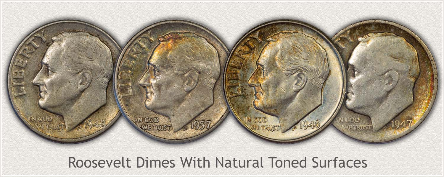Roosevelt Dimes with Natural Surfaces