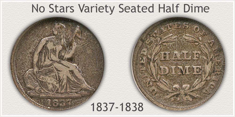 Obverse and Reverse of No Stars Seated Half Dime Variety