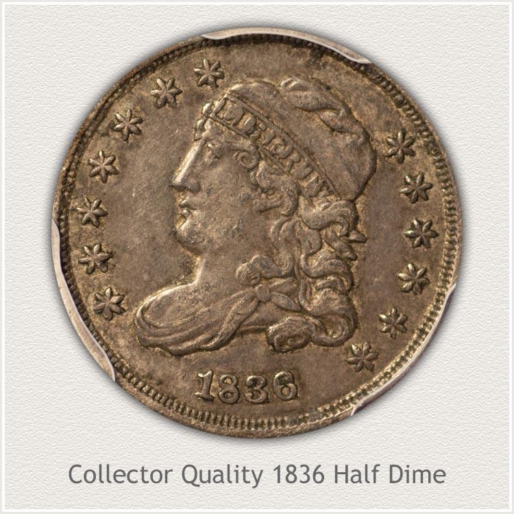 1836 Half Dime Obverse